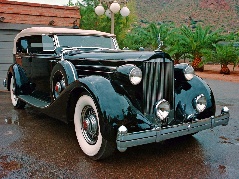 Photo 1935 Packard Twelve Dual Cowl Sport Phaeton Black antique Metallic Headlights automobile Retro vintage Cars auto