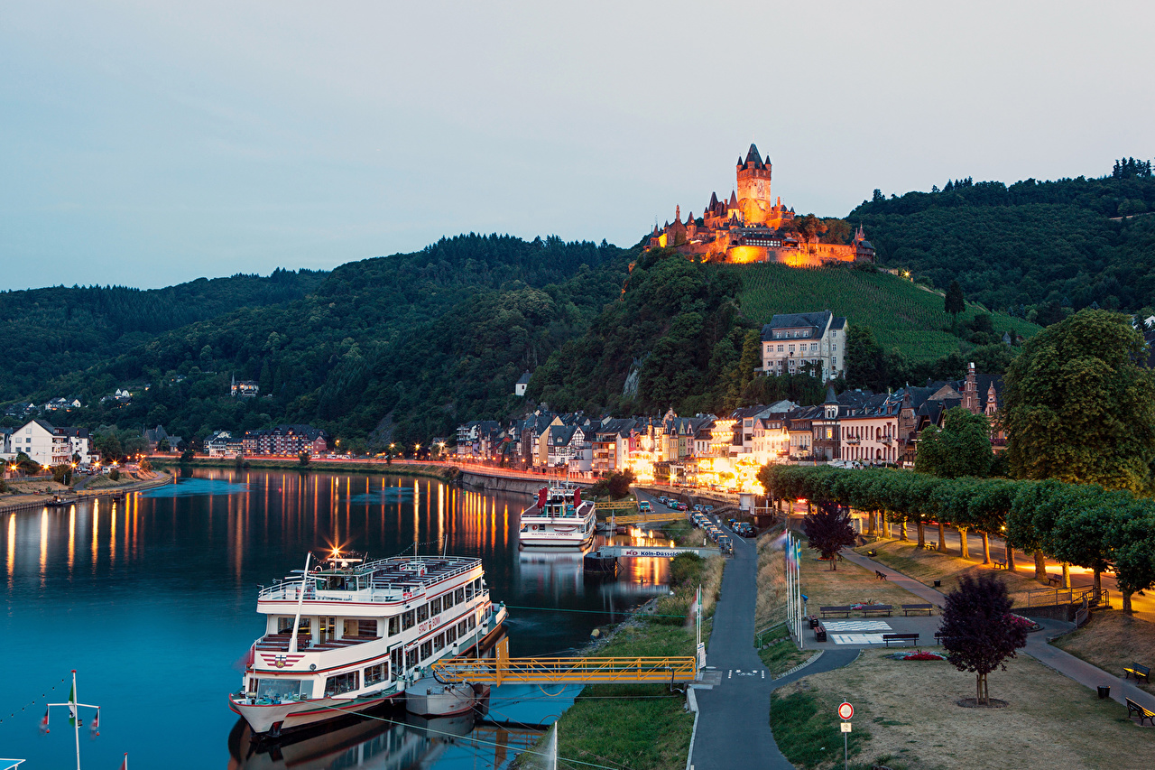 Desktop Wallpapers Riverboat Germany river Cochem night time Cities Building Night Rivers Houses