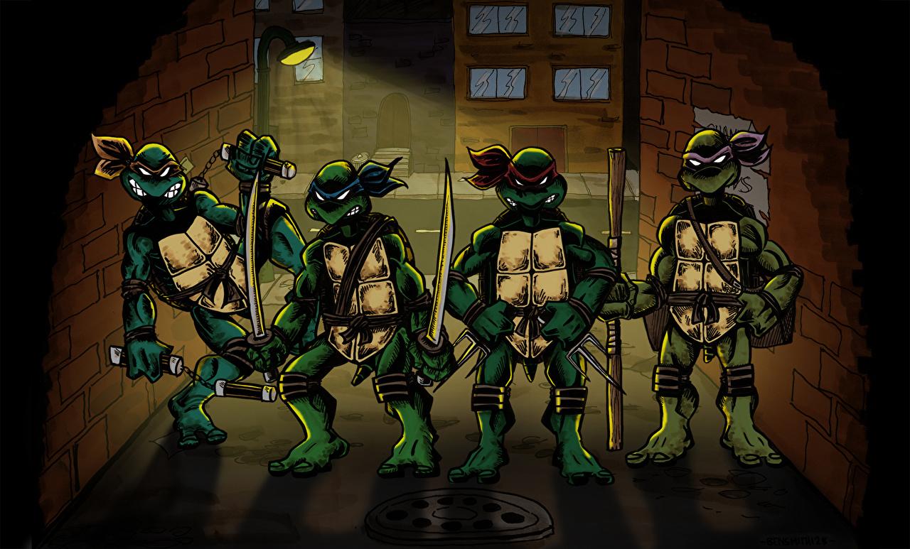 壁紙 ティーンエイジ ミュータント ニンジャ タートルズ Teenage Mutant Ninja Turtles Raphael Leonardo Michelangelo Donatello 漫画 ダウンロード 写真