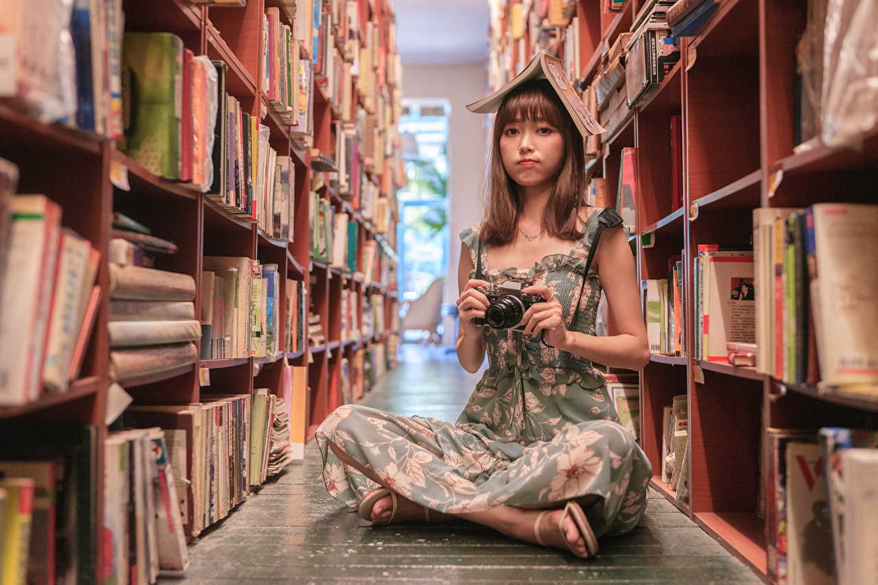 Desktop Wallpapers Camera Library female Asiatic books Sitting Glance frock Girls young woman Asian sit Book Staring gown Dress