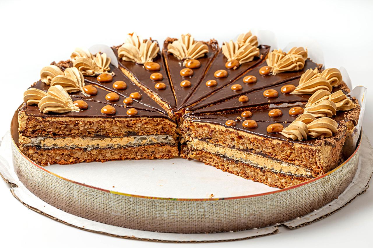 Afbeeldingen Chocolade Taart Voedsel Witte achtergrond Ontwerp spijs