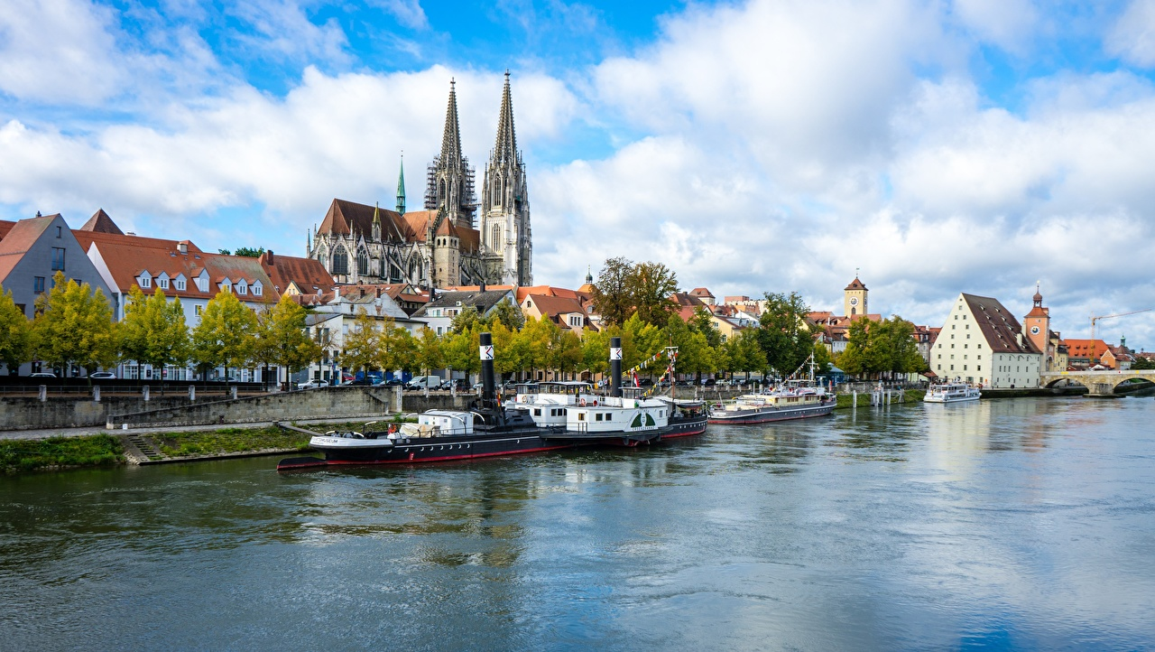 Tapety na pulpit Szwajcaria Regensburg, Dielsdorf, Canton of Zurich, Regan River Statki rzeczne Rzeki miasto rzeka Miasta