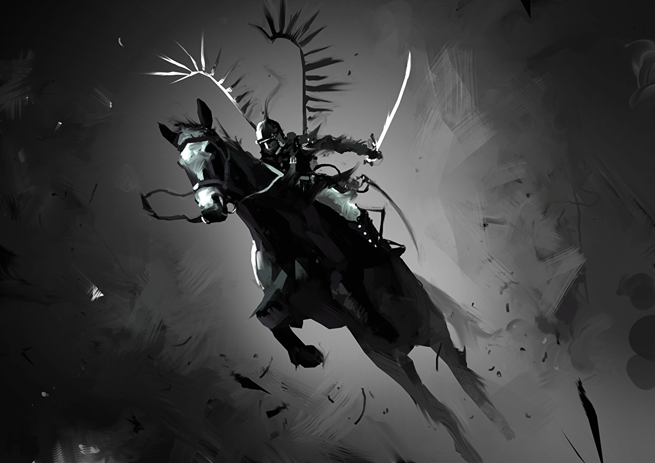 Picture Horses Swords warrior Fantasy Jump Black and white horse Warriors
