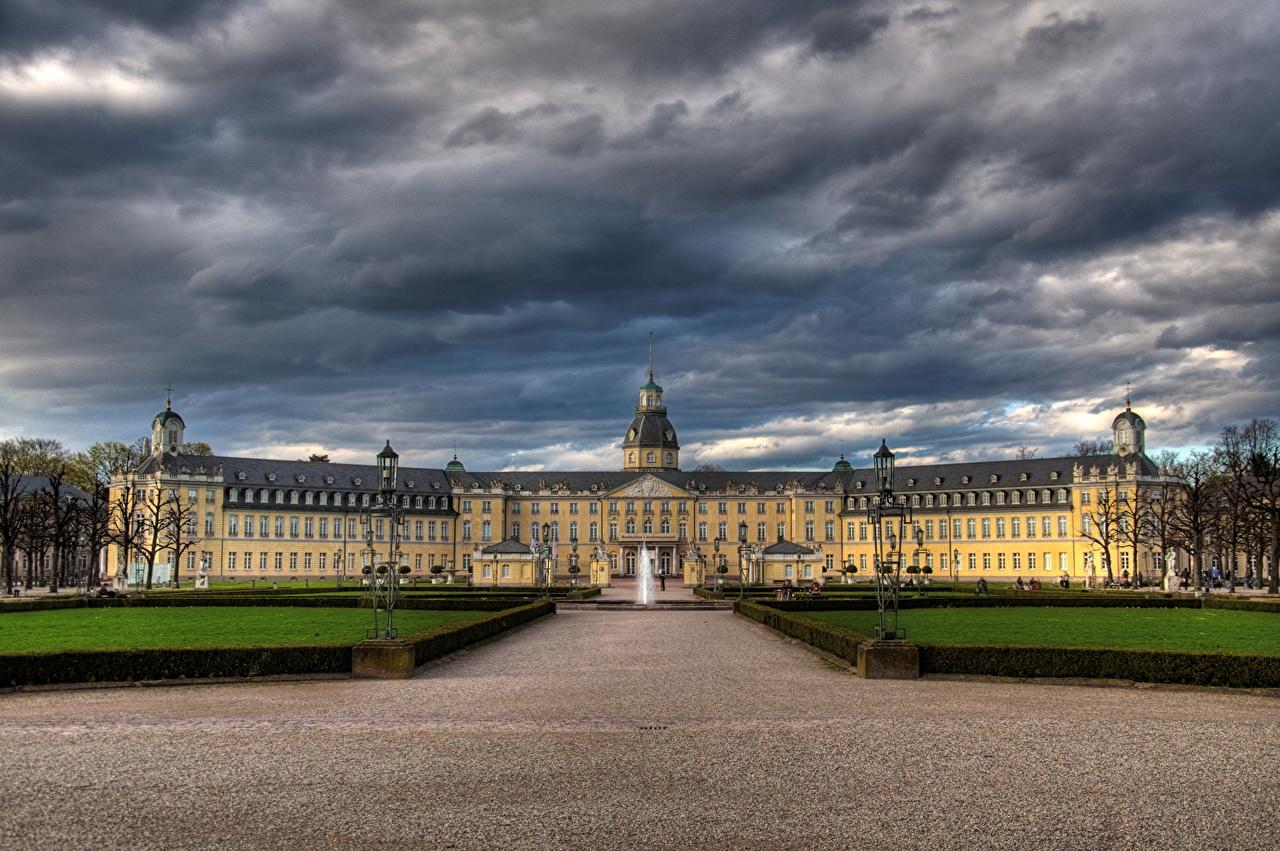 Desktop Wallpapers Palace Germany Karlsruhe storm cloud Sky Clouds Cities Thundercloud