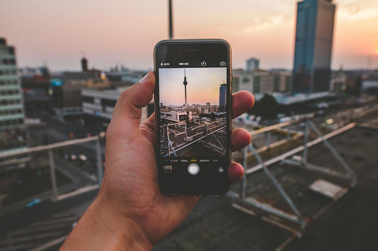 Photo Berlin iPhone Germany smartphones Fernsehturm Hands Cities Smartphone