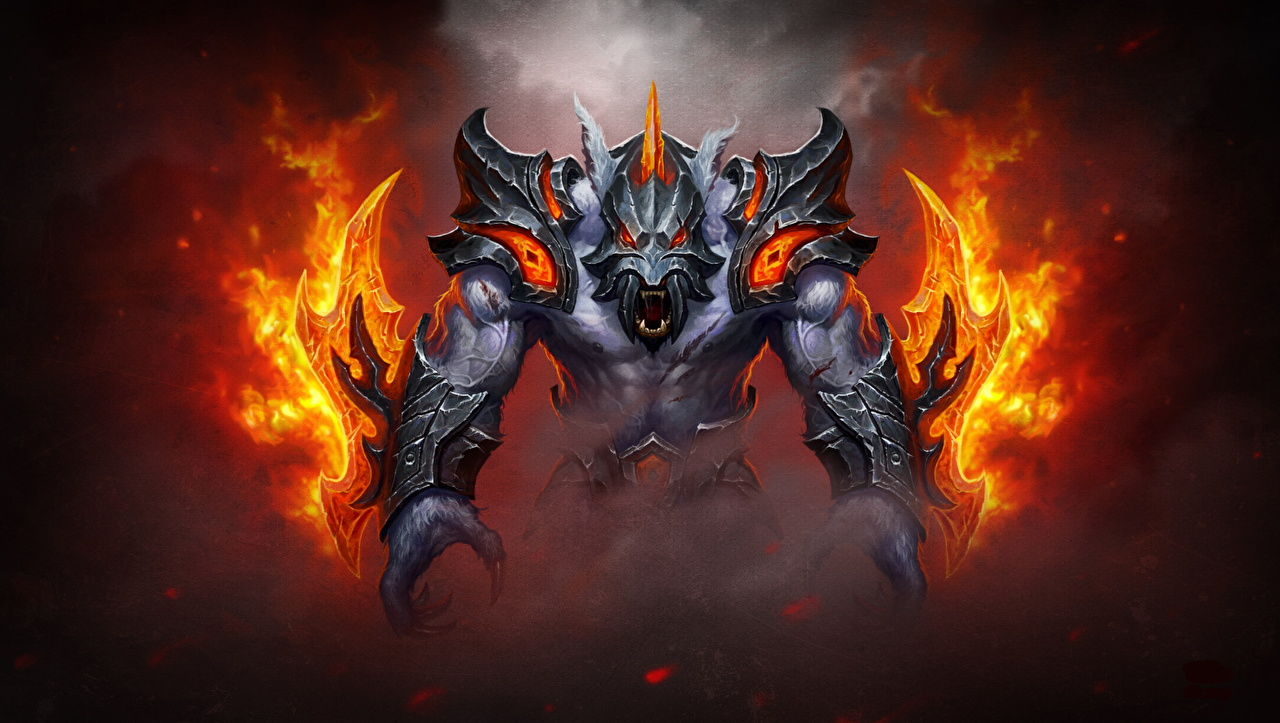 Sfondi del desktop DOTA 2 Ursa warrior Armatura mostri Fantasy Fuoco Videogiochi Un'armatura Mostro gioco fiamma