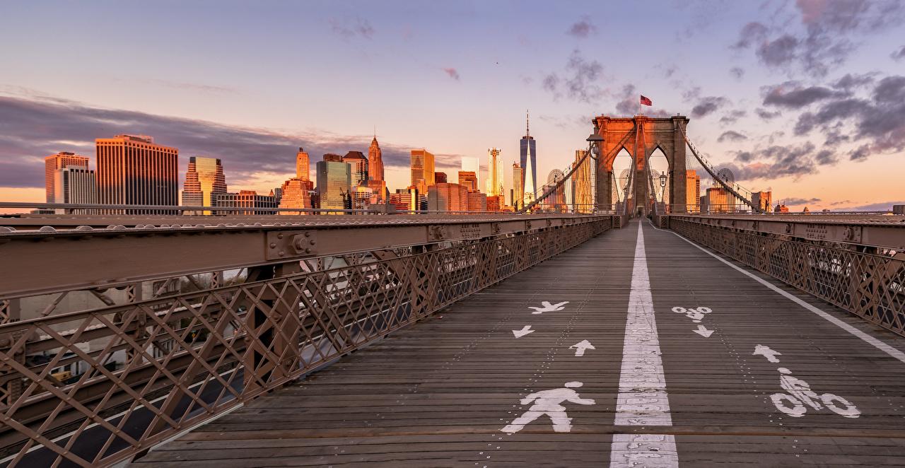 Bilder New York City USA Brooklyn Bridge Brücke Städte Gebäude Vereinigte Staaten Brücken Haus