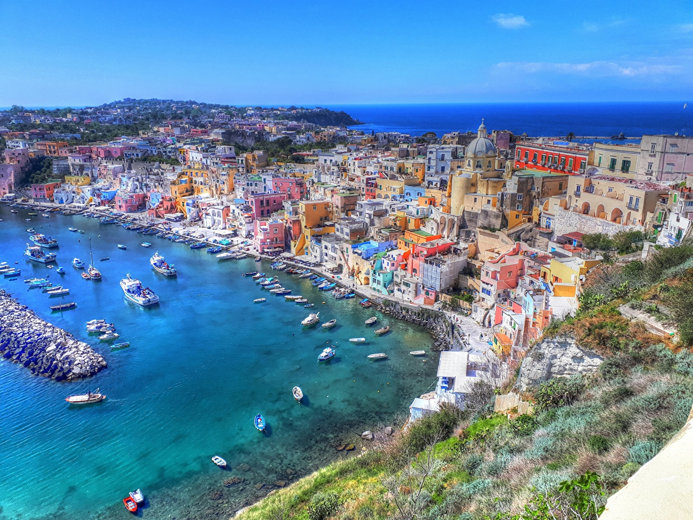 Wallpaper Italy Gulf of Naples, Procida HDRI Coast From above Houses Cities HDR Building