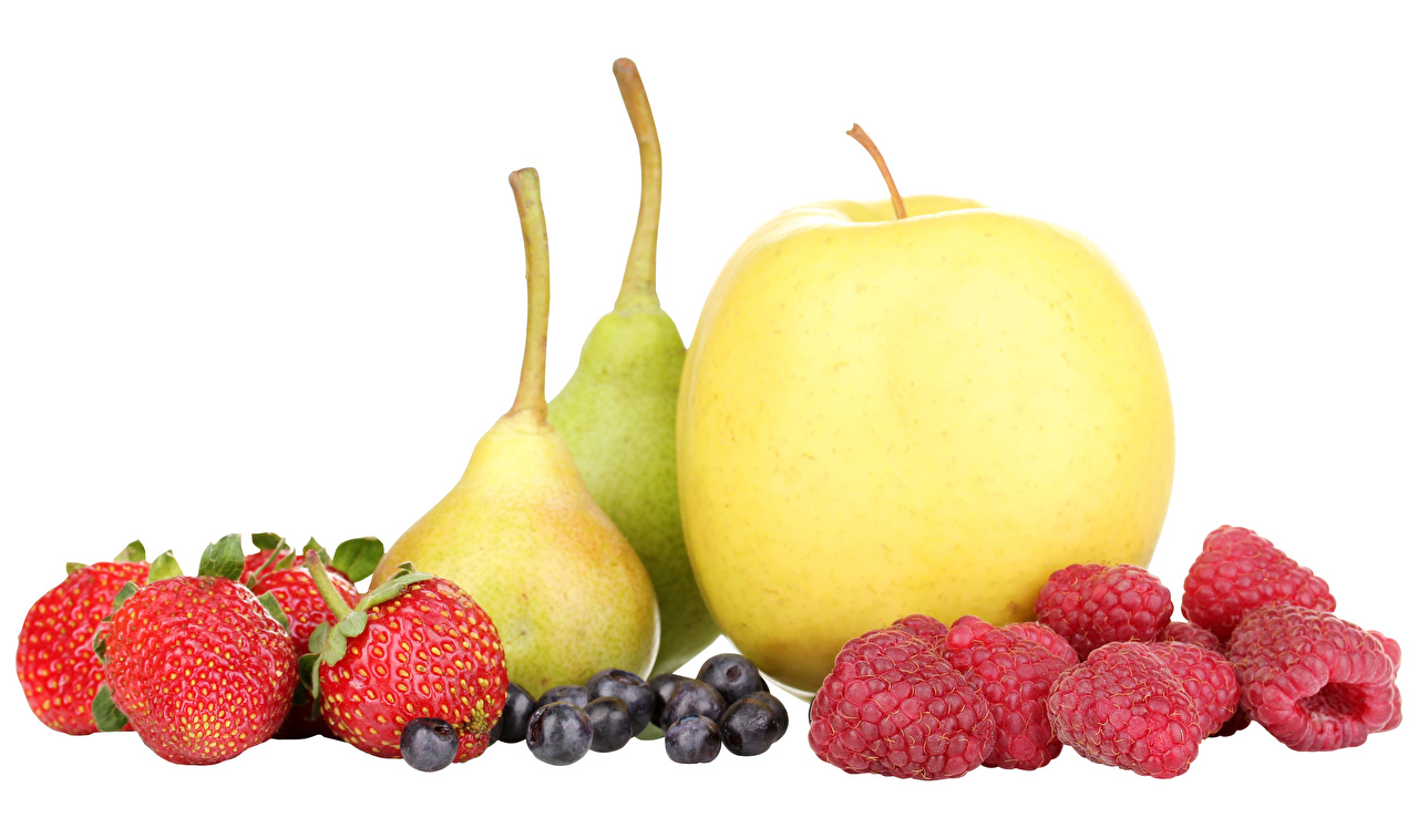 Picture Pears Apples Raspberry Strawberry Blueberries Food Fruit White background