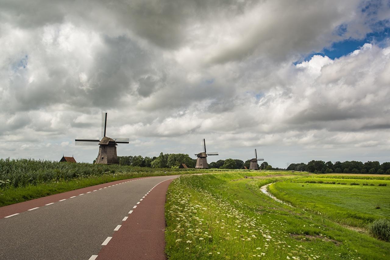 Bilder Mühle Natur Wege Gras Wolke windmühle Straße