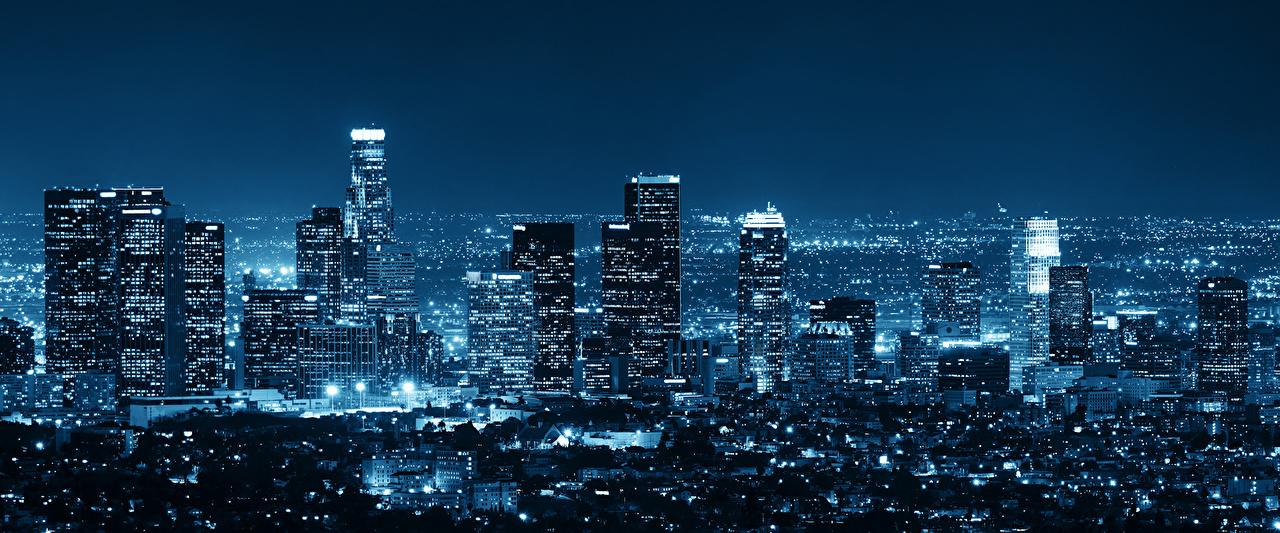 Fonds D Ecran Usa Gratte Ciel Los Angeles Megalopole Nuit