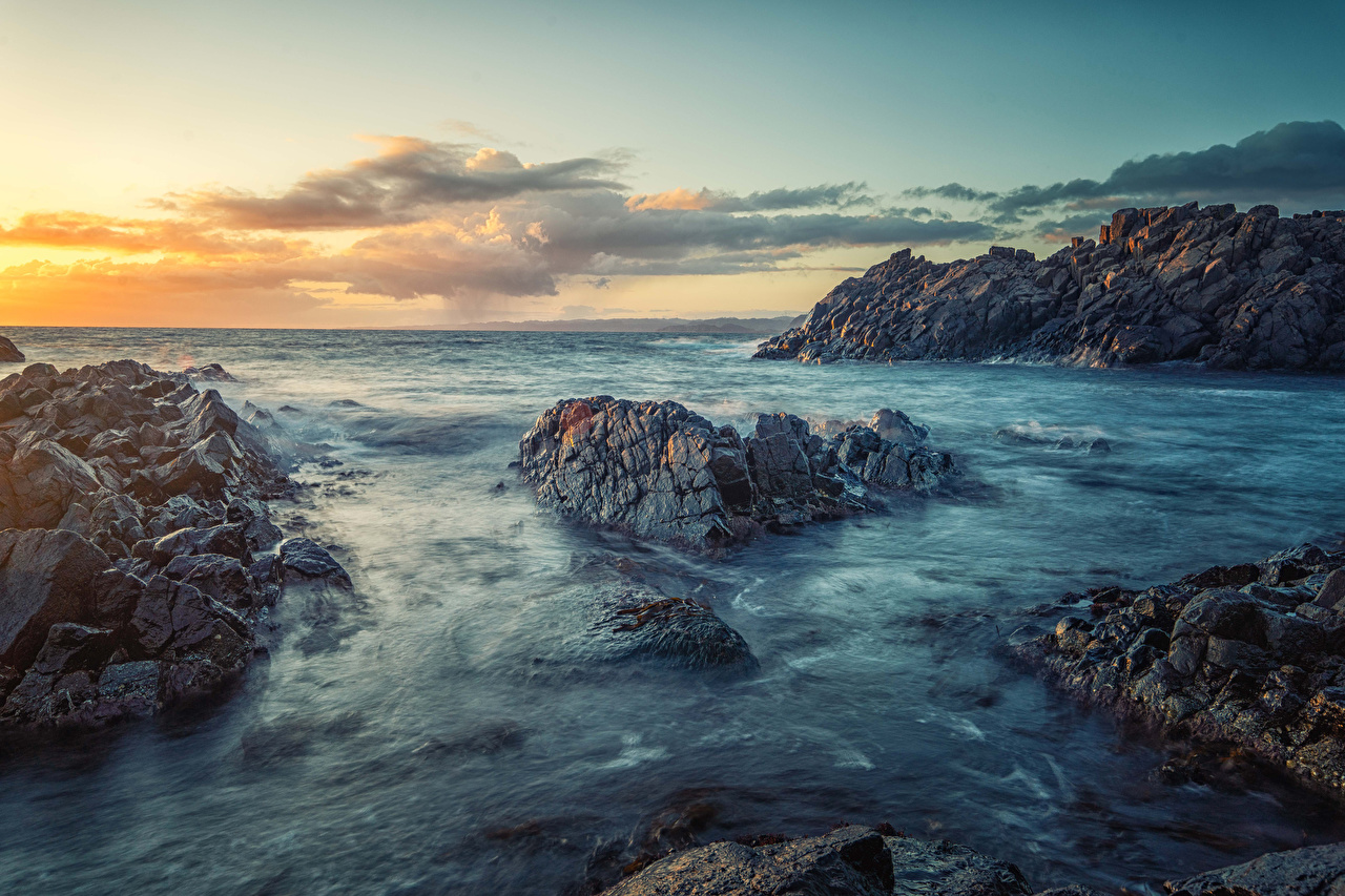 Bilder von Norwegen Meer Natur Felsen Sonnenaufgänge und Sonnenuntergänge Küste Morgendämmerung und Sonnenuntergang