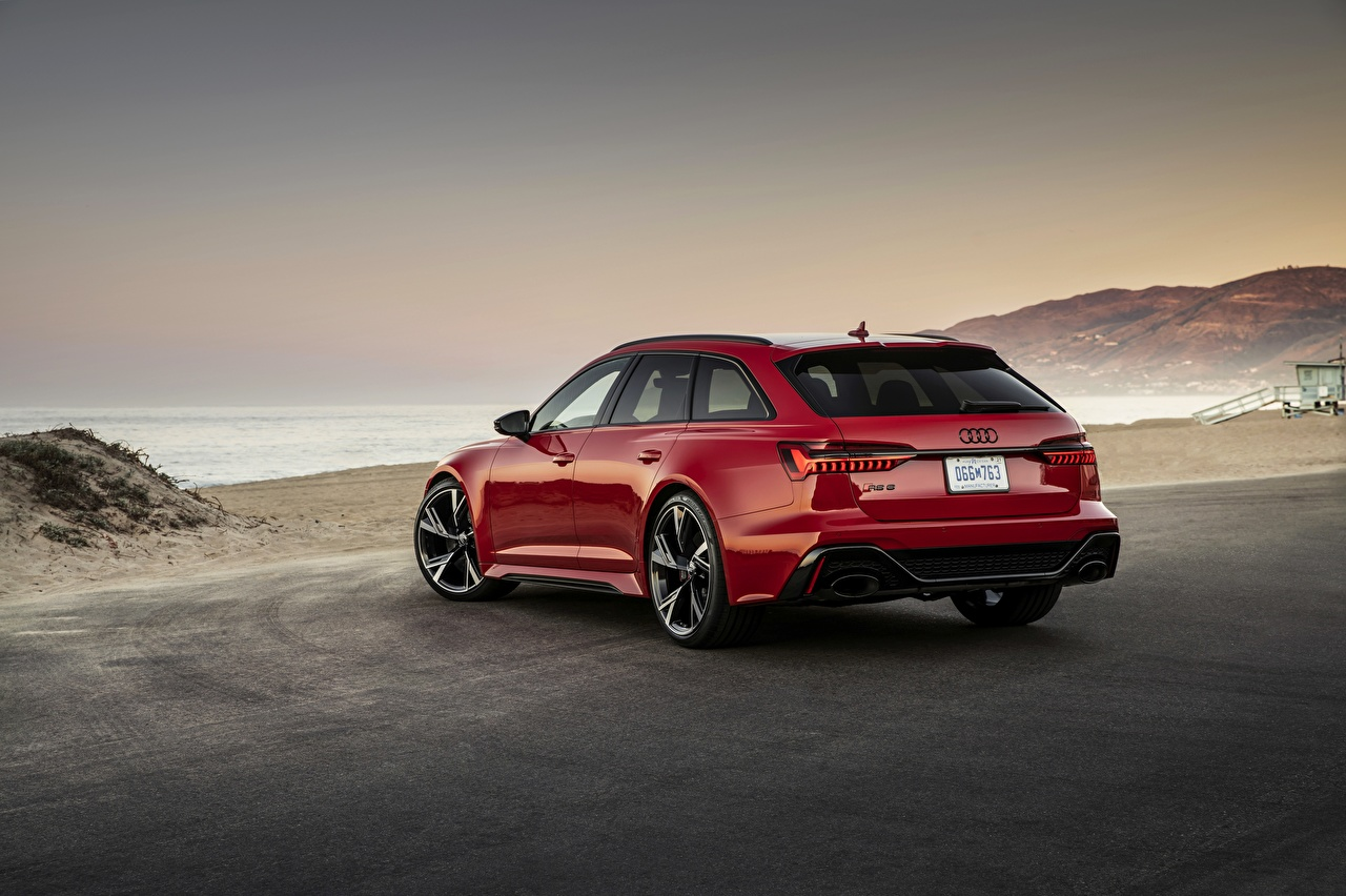 Images Audi Estate car RS 6 2020 2019 V8 Twin-Turbo Avant Red Back view automobile Station wagon Cars auto