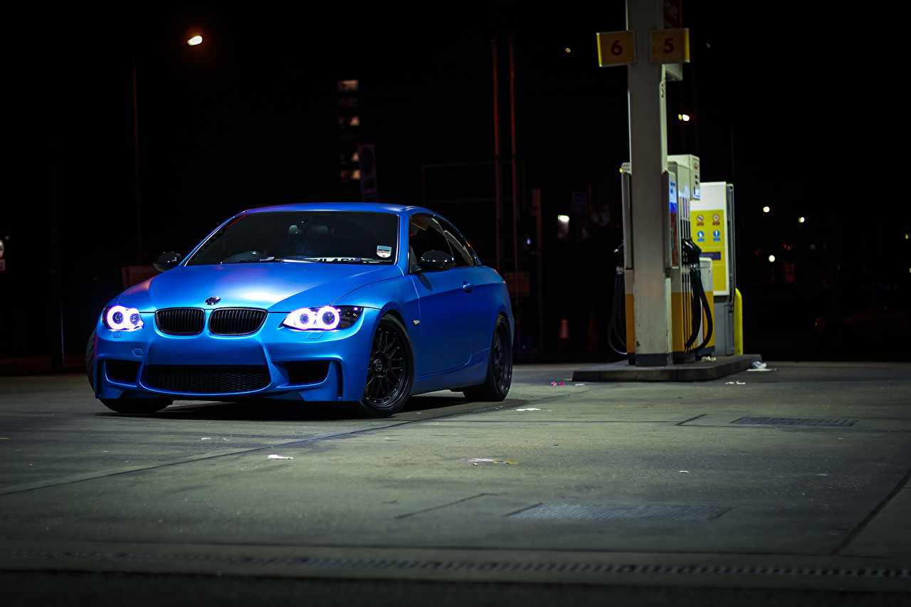 Wallpaper BMW 335i e93 Blue auto night time Cars Night automobile