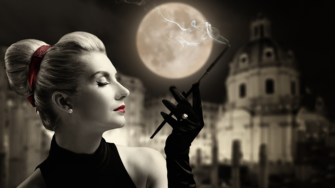 Pictures Blonde girl Glove Bokeh Girls Moon Side Hands Smoke blurred background female young woman