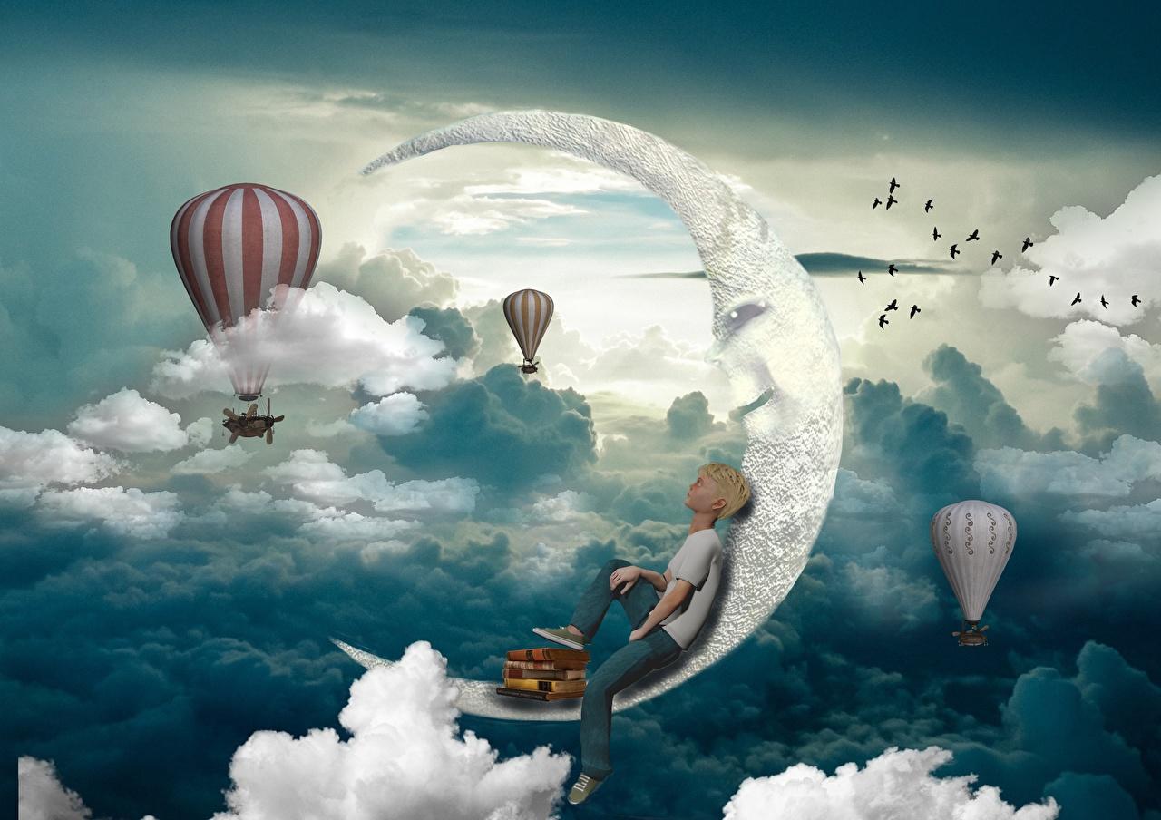 Bilder von Junge heißluftballon 3D-Grafik Mondsichel Wolke jungen Fesselballon Halbmond