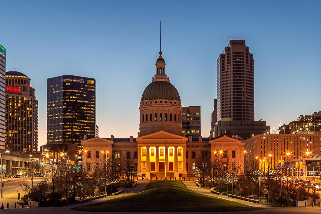 Photo USA Saint Louis Evening Street lights Houses Cities Building