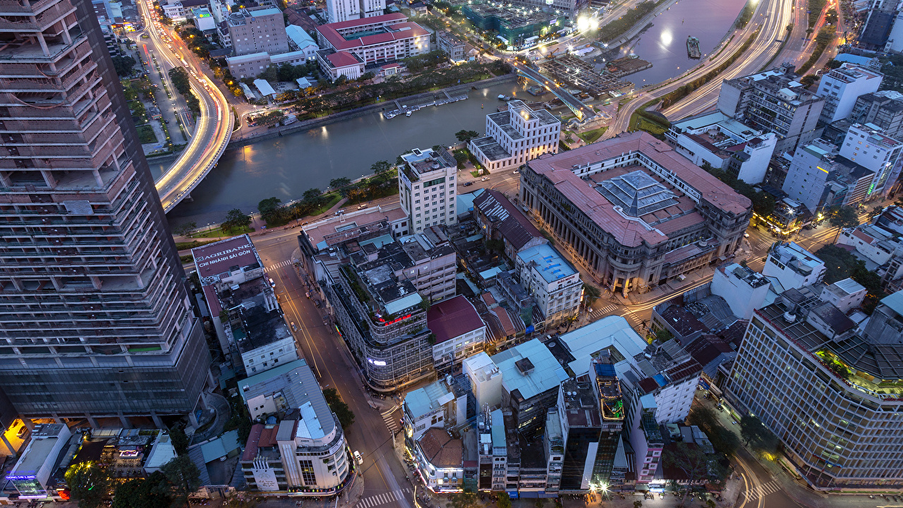Desktop Wallpapers Vietnam Saigon Roof river Evening From above Houses Cities Rivers Building
