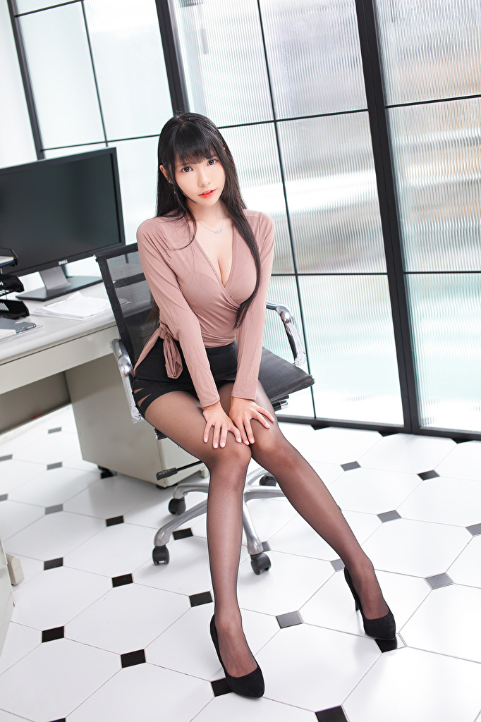Image Skirt Brunette girl Beautiful Blouse Girls Legs Asian Sitting Glance  for Mobile phone female young woman Asiatic sit Staring