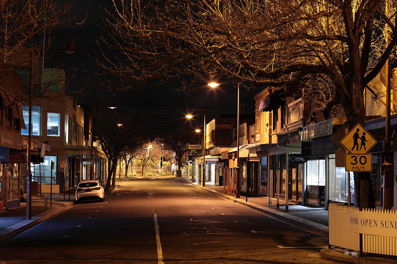 Australia Melbourne Casa Calle Noche Farola Edificio Ciudades