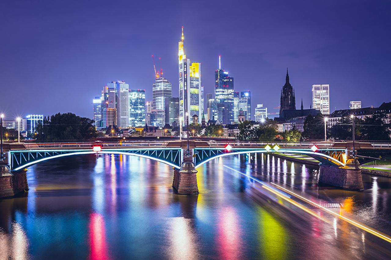 、ドイツ、住宅、川、橋、フランクフルト・アム・マイン、夜、建物、都市、