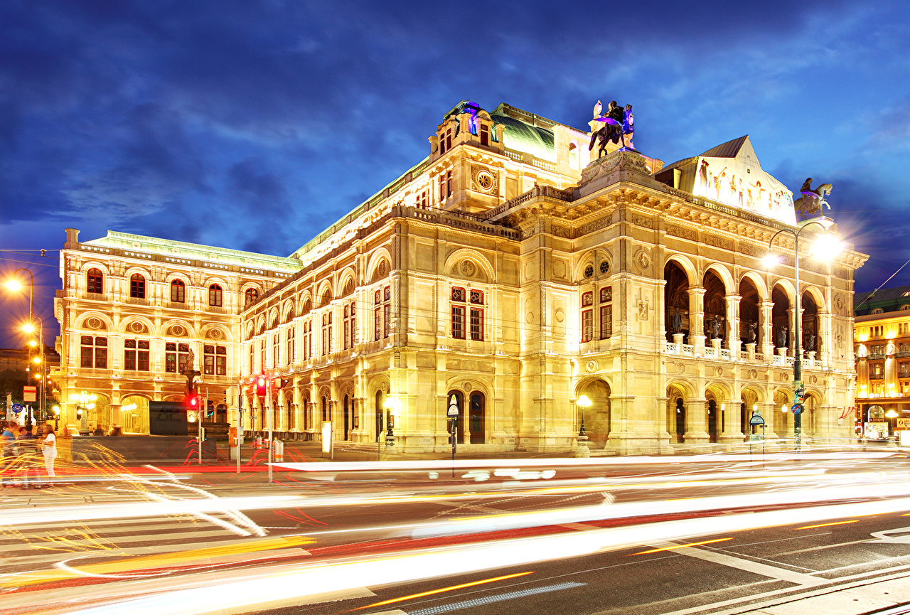 Photos Vienna Austria state opera Roads moving night time Street lights Houses Cities Motion riding driving at speed Night Building