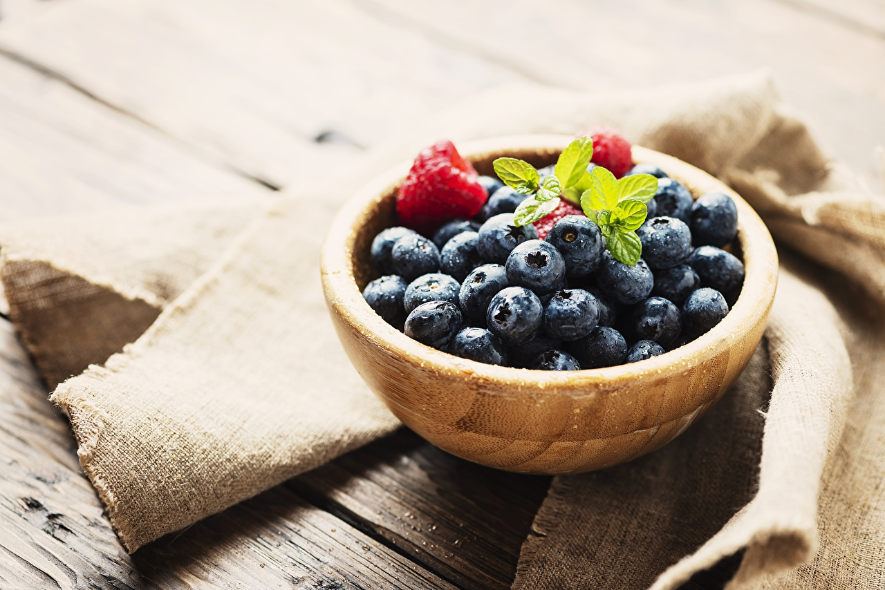 Pictures Bowl Blueberries Food Berry Wooden from wood
