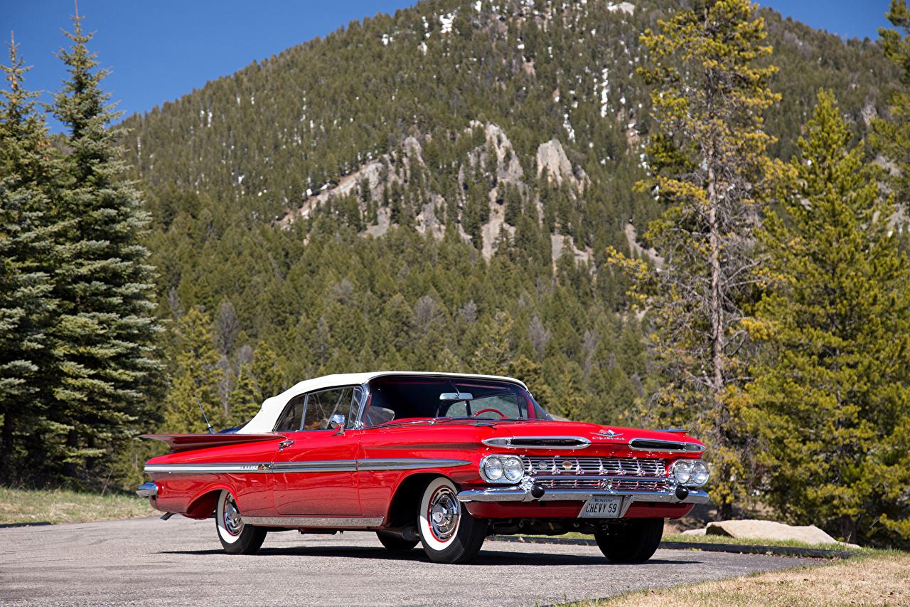 Pictures Chevrolet 1959 Impala Convertible Red Retro Cars vintage antique auto automobile