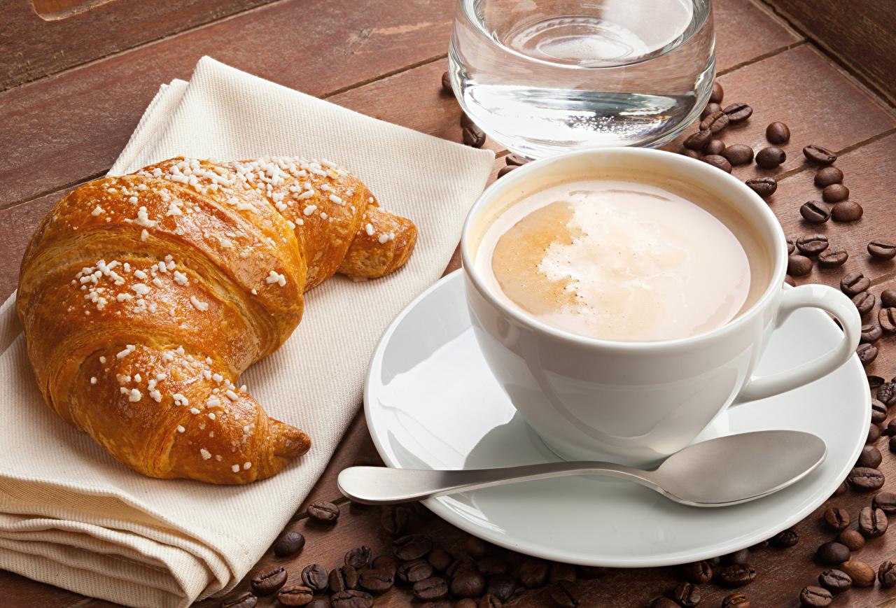 Café Croissant Cappuccino Chávena Cereal Colher Alimentos