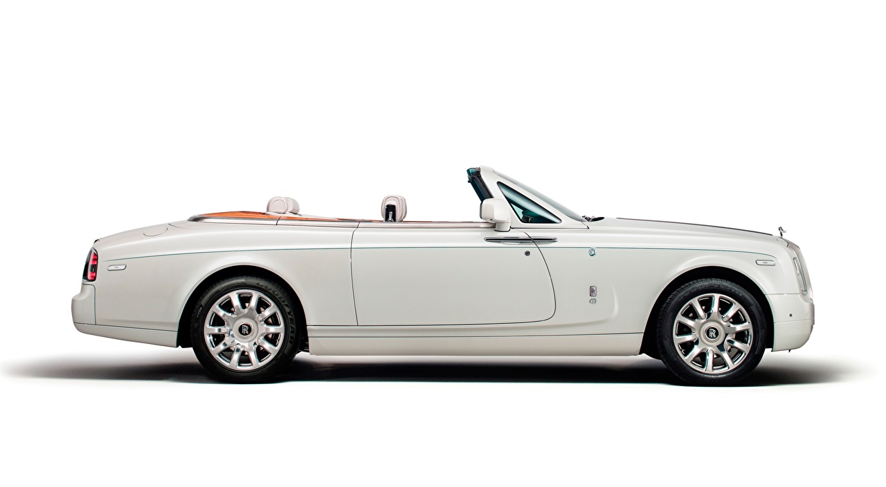 Photo Rolls-Royce Phantom Drophead, Coupe Maharaja, 2014 Cabriolet luxurious White Side Cars White background Luxury expensive Convertible auto automobile