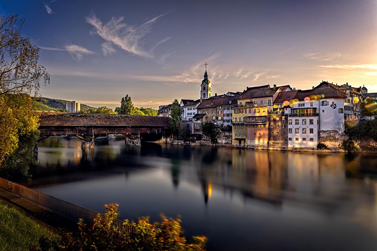 Bilder von Schweiz Aare River, Olten Brücken Abend Flusse Städte Gebäude Brücke Fluss Haus