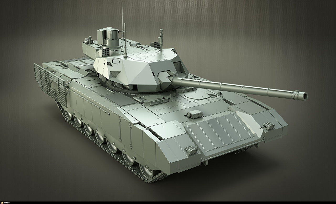 Image Tanks Russian T-14 Armata 3D Graphics Gray background military tank Army