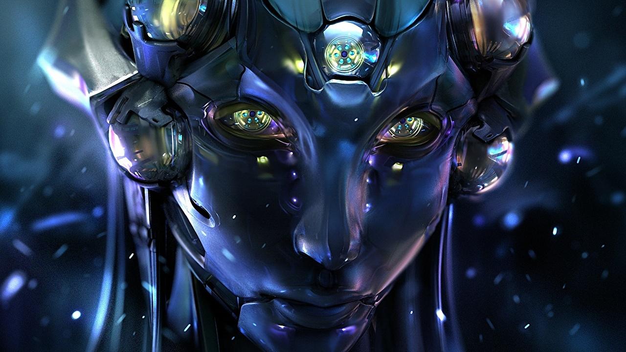 Image Eyes robots Face Fantasy Staring Technics Fantasy Robot Glance