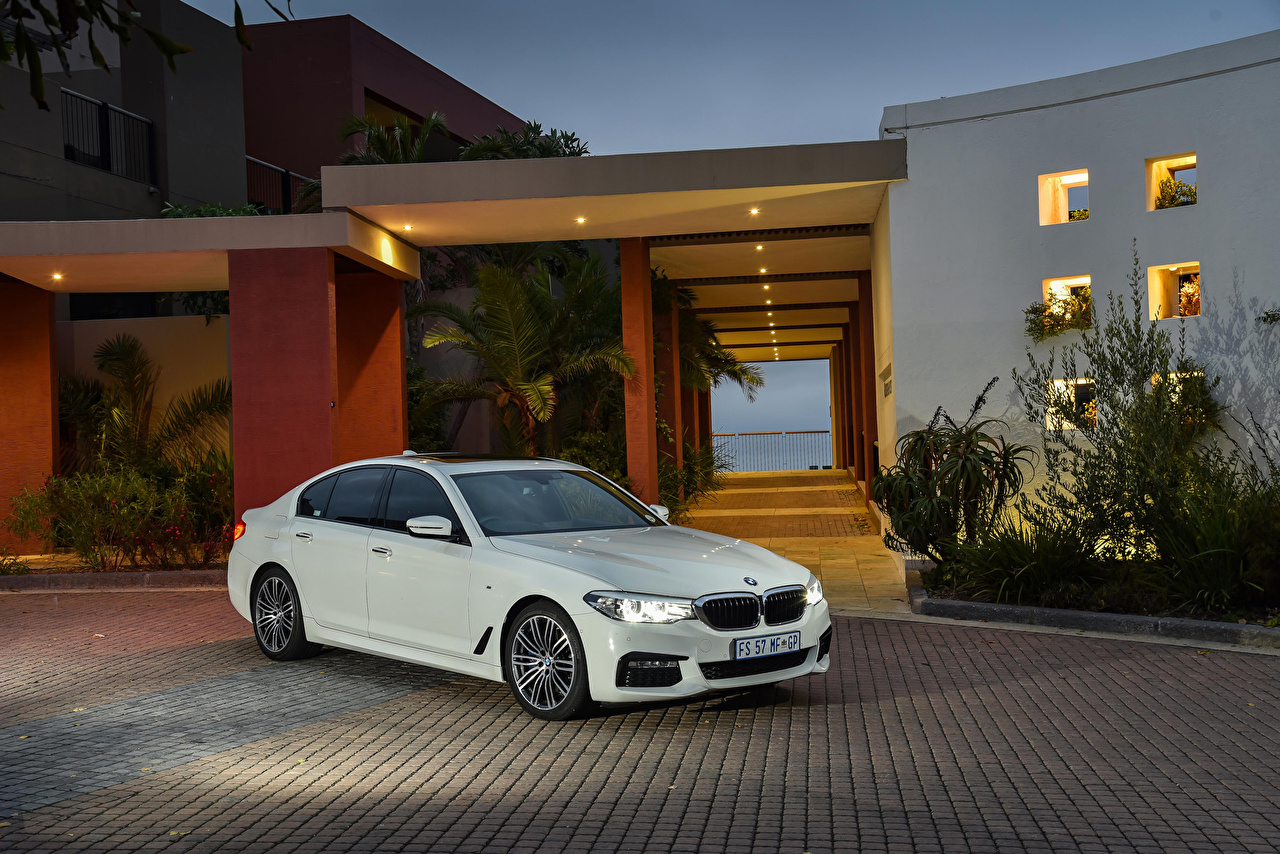 Pictures BMW 2017 530d Sedan M Sport White Cars Metallic auto automobile