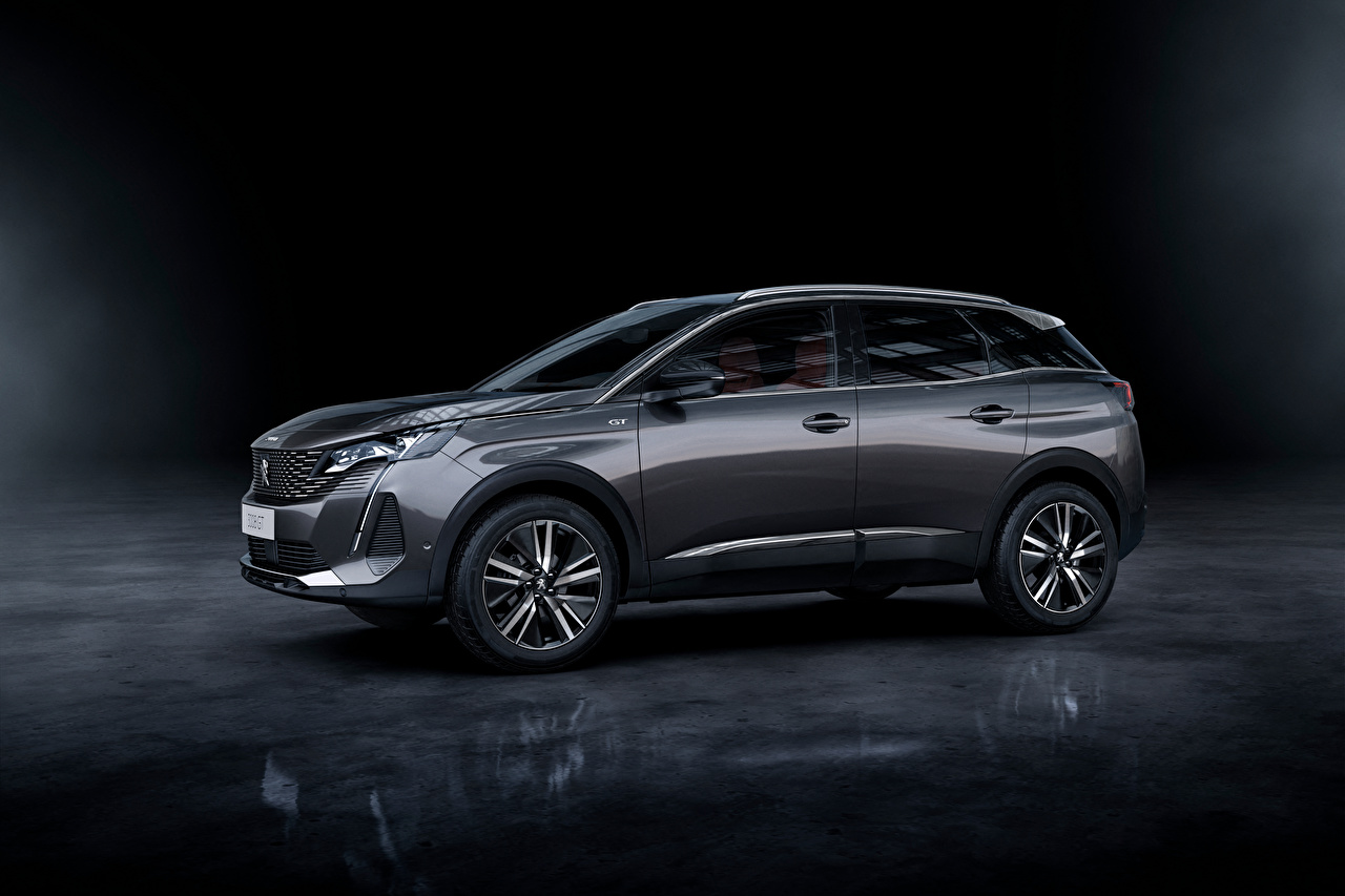 Desktop Wallpapers Peugeot Crossover 3008 GT, 2020 Grey Side Metallic automobile CUV gray Cars auto