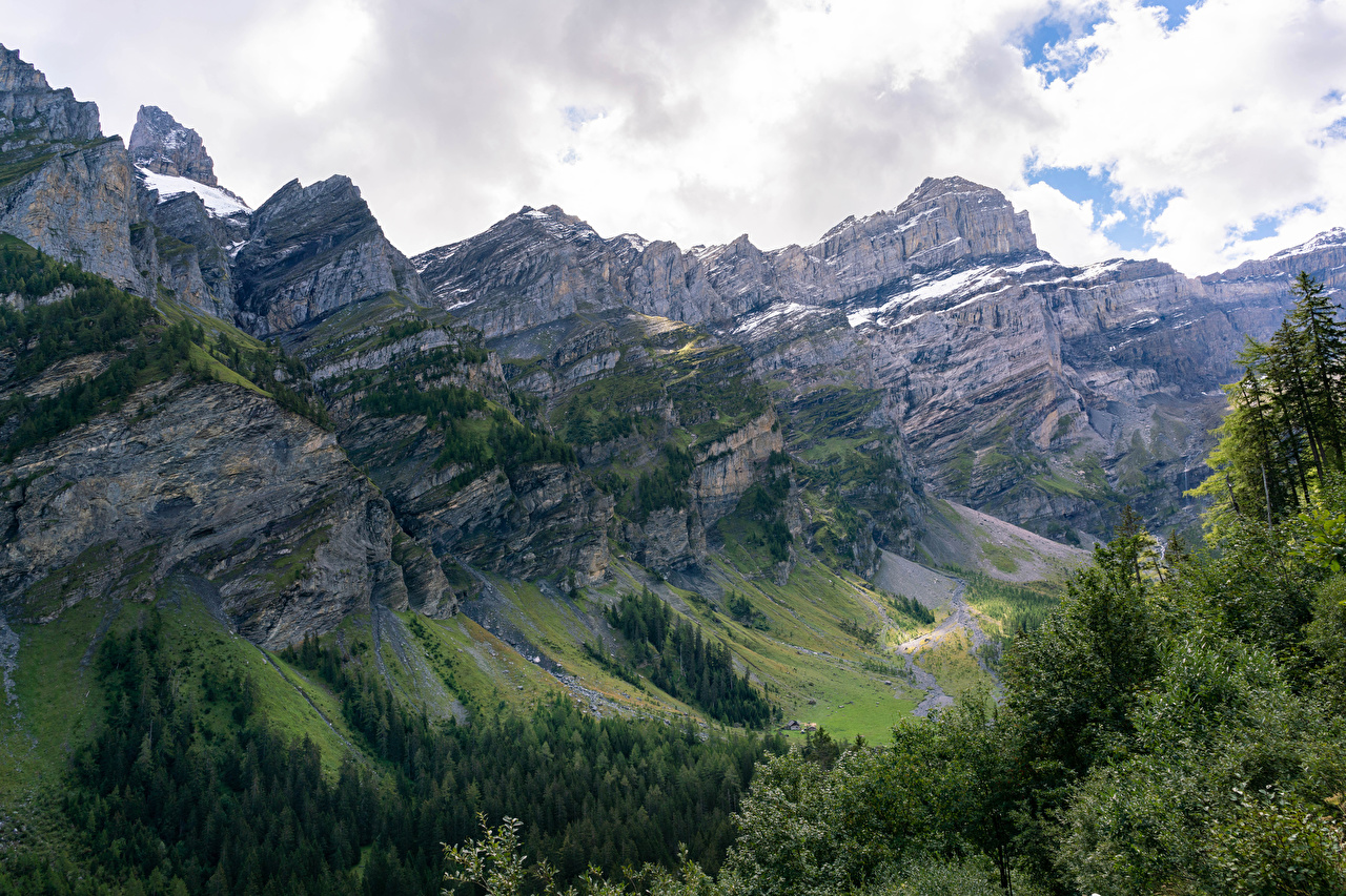Picture Alps Switzerland Nature canyons Mountains forest Canyon mountain Forests