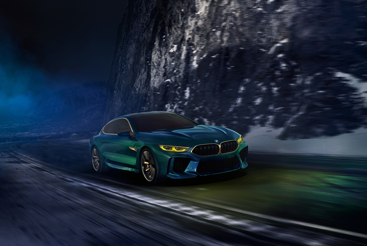 Photos BMW 2018 M8 Gran Coupe Concept riding auto moving Motion driving at speed Cars automobile