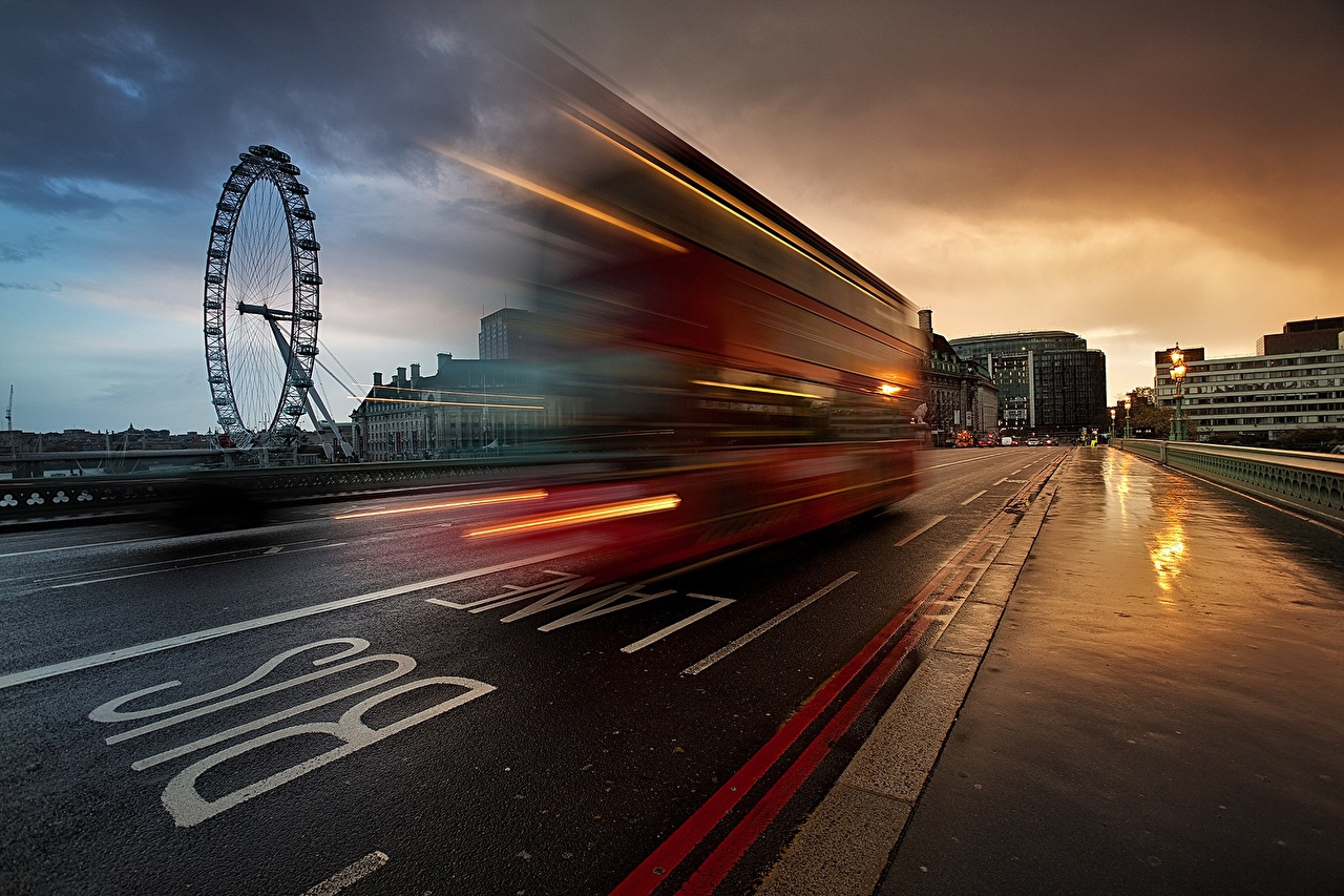 Pictures Bus London England Roads Motion Cities moving riding driving at speed