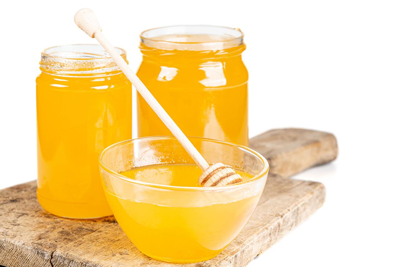 Photo Honey Jar Food Cutting board White background