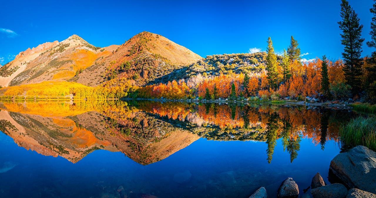 Desktop Hintergrundbilder Kalifornien USA Natur Herbst Gebirge Landschaftsfotografie Spiegelung Spiegelbild Flusse Vereinigte Staaten Berg spiegelt Reflexion Fluss