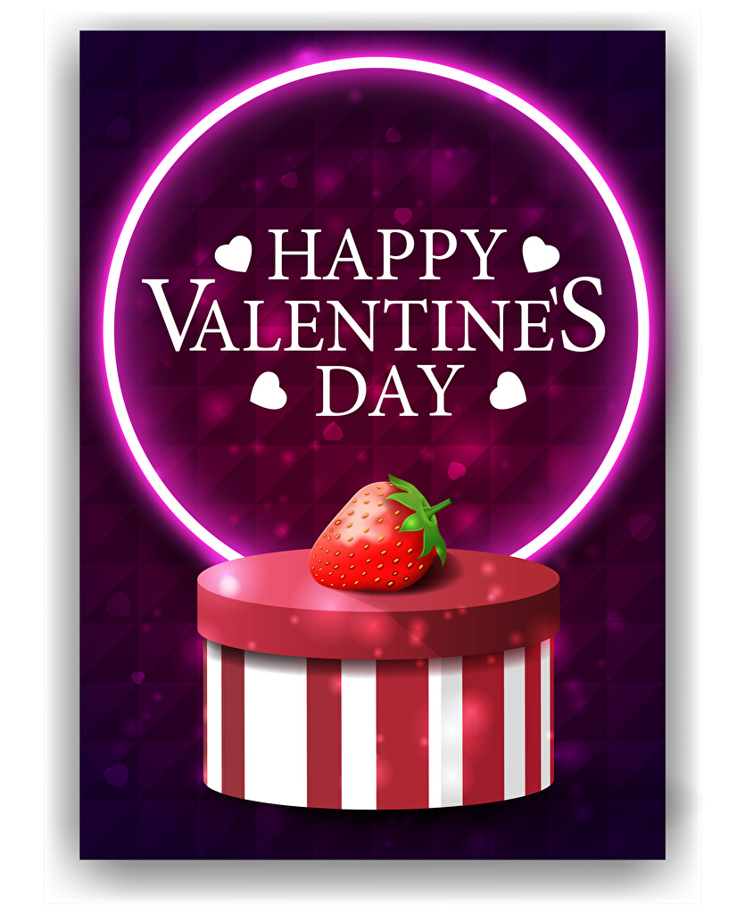 Photos Valentine's Day English Heart Box Strawberry Word - Lettering Vector Graphics White background  for Mobile phone text lettering