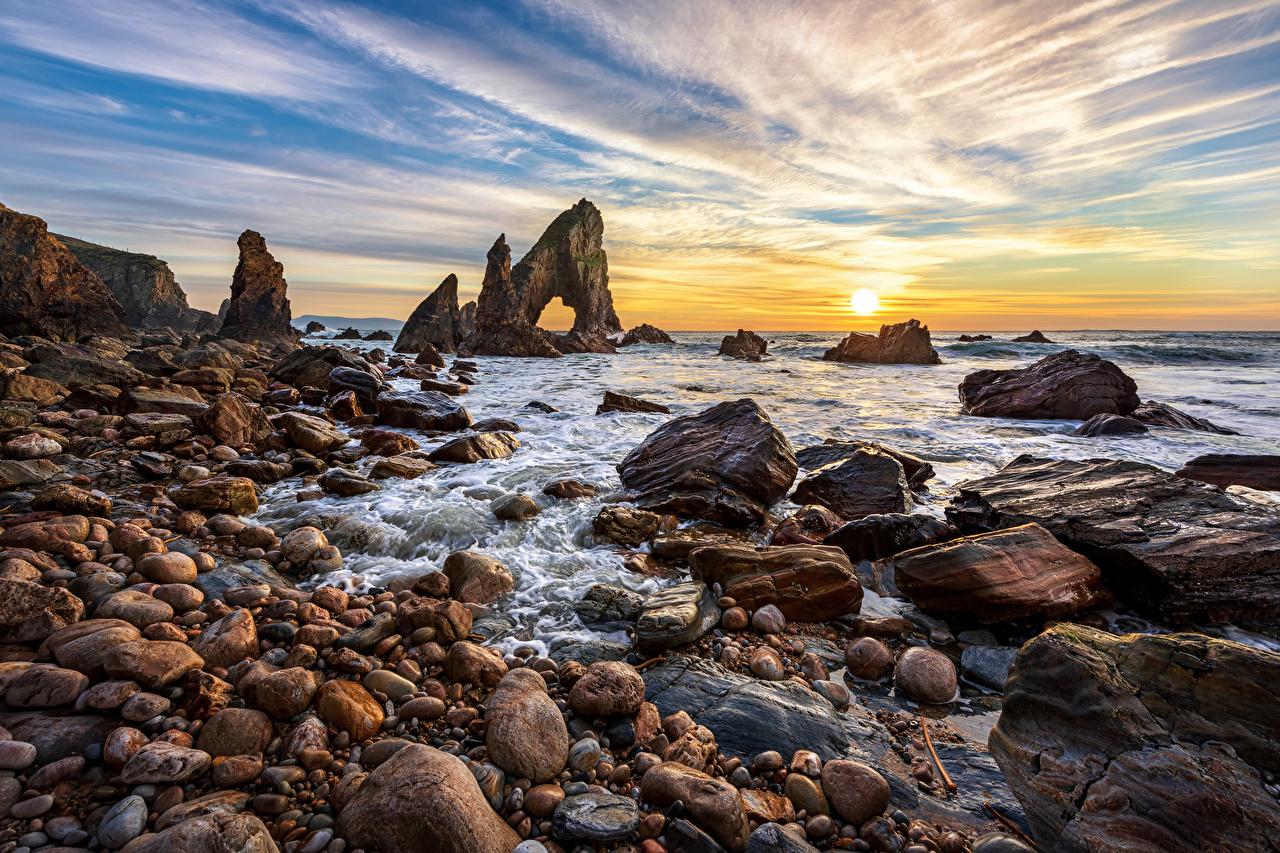 Photos Ireland Donegal Cliff Nature Sky sunrise and sunset Coast stone Crag Rock Sunrises and sunsets Stones