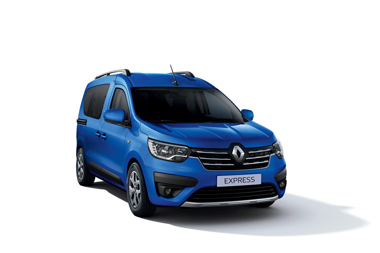 Foto Renault Express, 2021 Minibuss Blå Bilar Metallisk Vit bakgrund MPV bil automobil