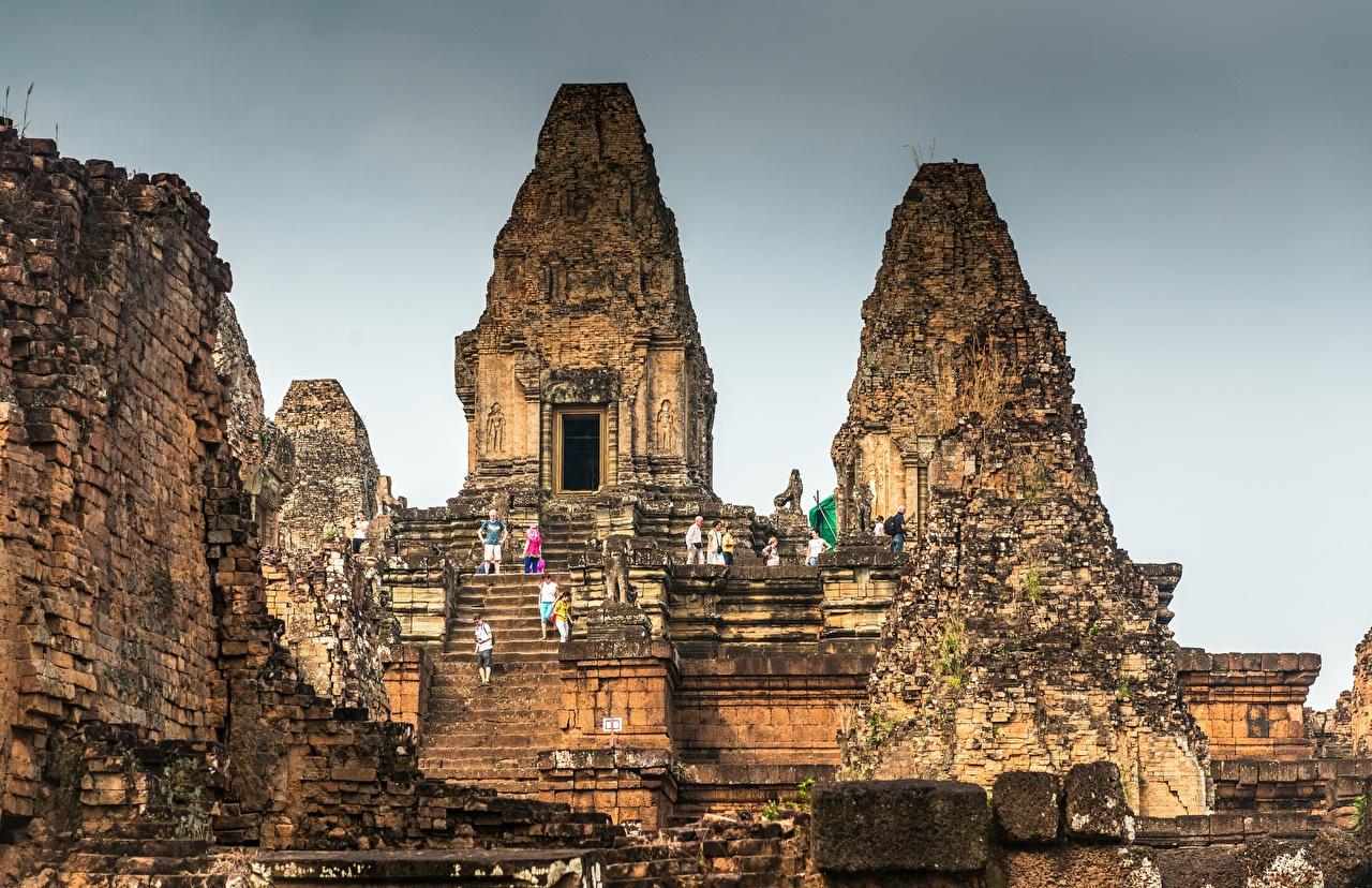 、廃墟、Cambodia, Angkor、階段、都市、