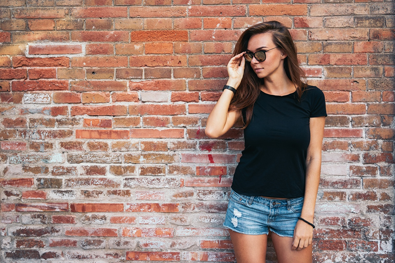 Picture Brown haired Girls Made of bricks Wall Shorts Glasses female young woman walls eyeglasses