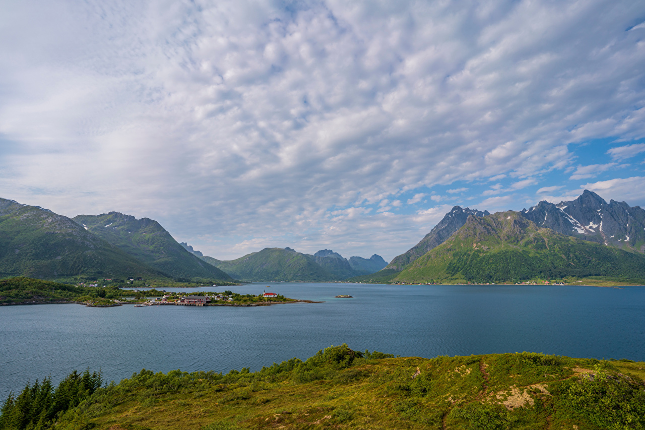 Picture Nature Lofoten Norway Fjord Mountains Clouds mountain