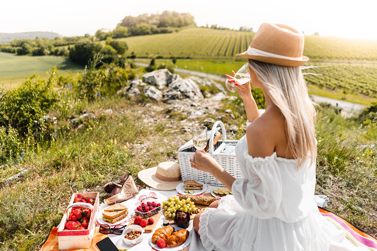 Bilder Blondine Picknick Der Hut Mädchens Gras sitzt Weinglas Lebensmittel Kleid Blond Mädchen junge frau junge Frauen sitzen Sitzend das Essen
