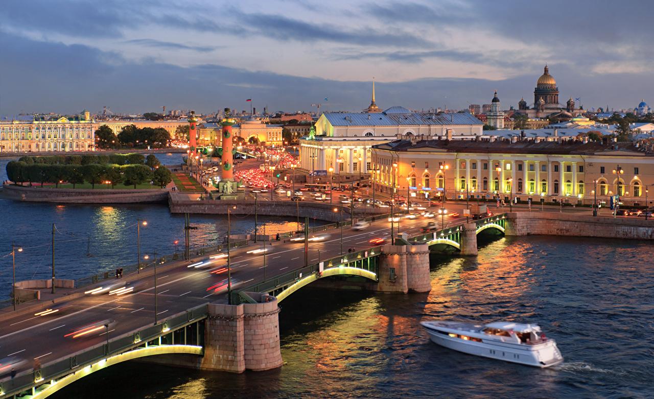 Images St. Petersburg Russia Exchange Bridge Bridges sunrise and sunset Motorboat Cities bridge Sunrises and sunsets speedboat powerboat