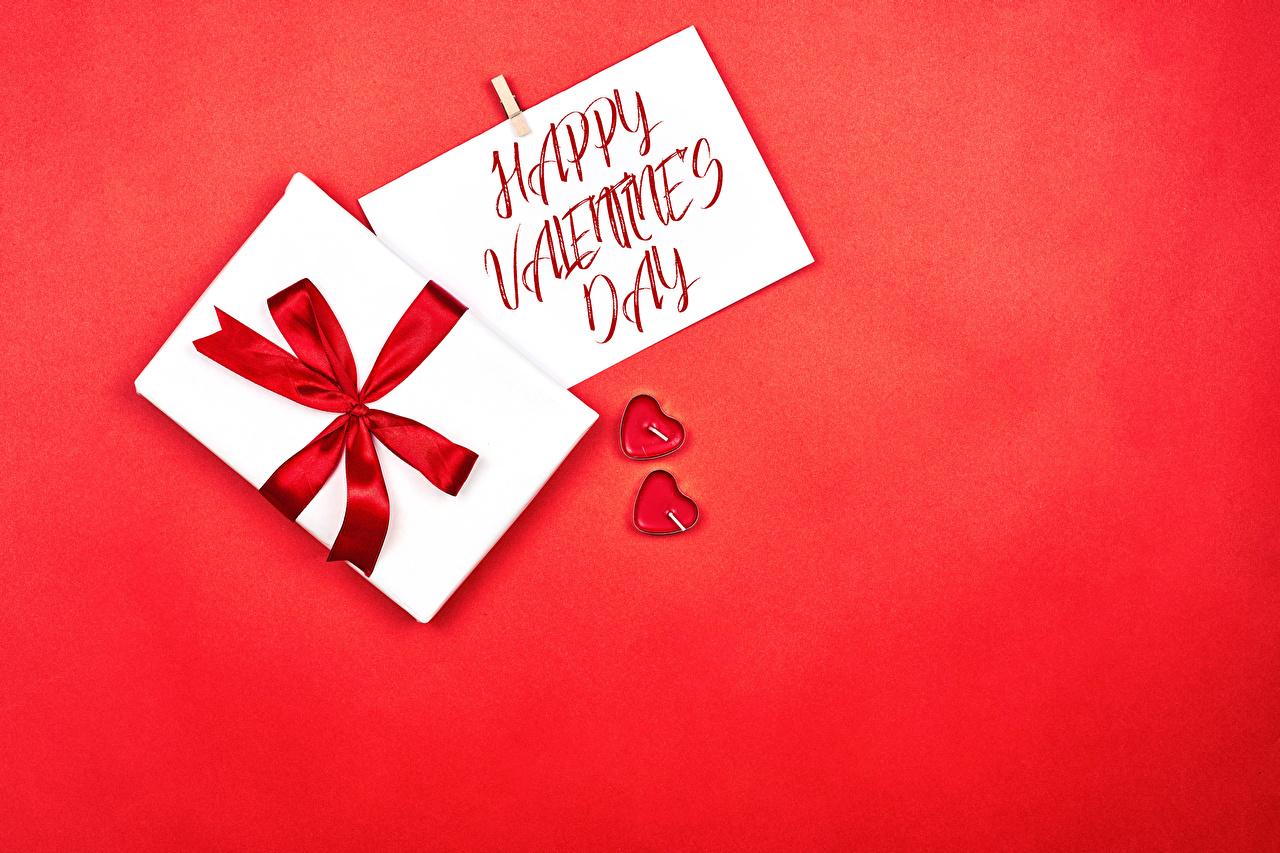 、バレンタインデー、赤の背景、英語、単語、贈り物、ちょう結び、ハート、2 二つ、、