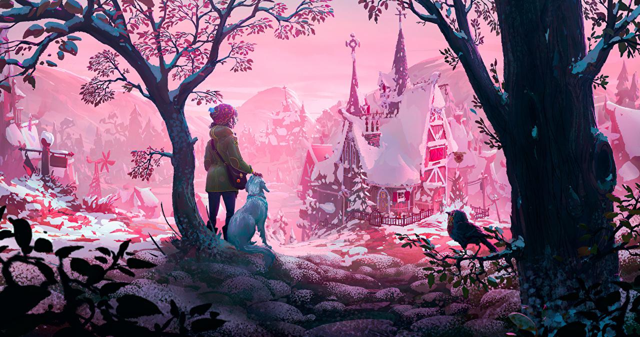 Foto Kleine Mädchen Hunde Vogel Burg Winter Schnee Bäume Gezeichnet hund Vögel